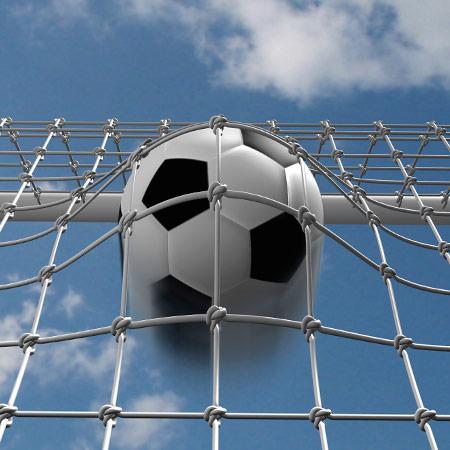 Fußballtor mit Ball im Netz - artec Sportgeräte