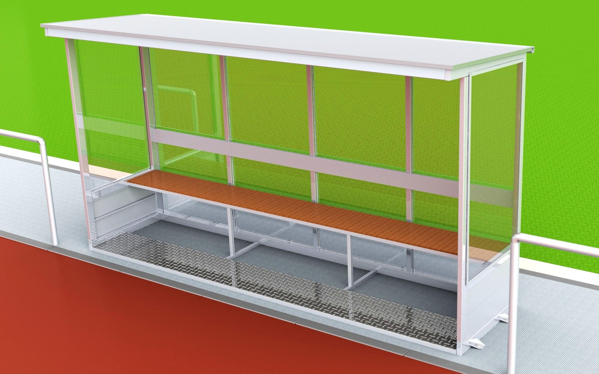 Spielerkabine aus Aluminium mit geneigter Dachfläche