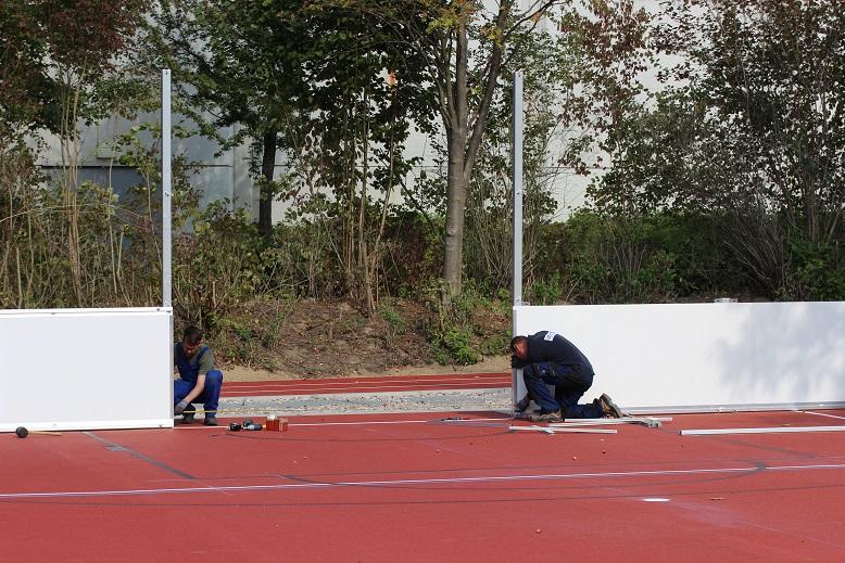 Soccer - Court Aufbau bei der IGS Melle