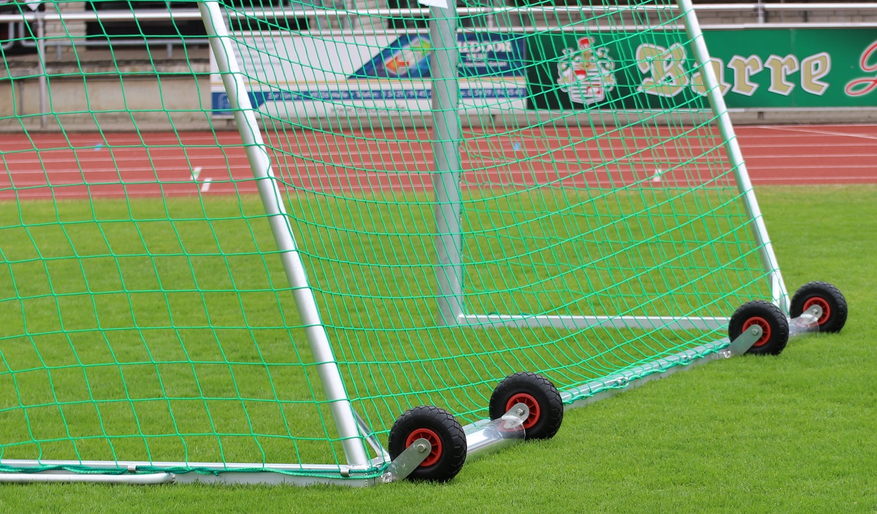 counterweights with weights and wheels for soccer goals