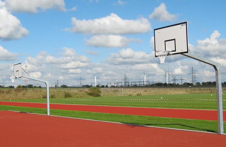 two Basketball posts and basketball units