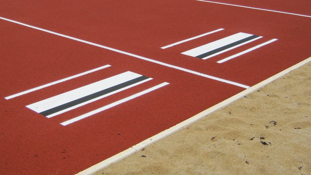 long jump facility with take-off board
